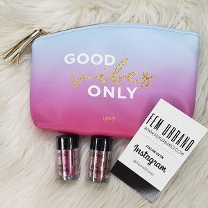 Sunset Blue/Pink Ipsy Makeup Bag Bundle Deal